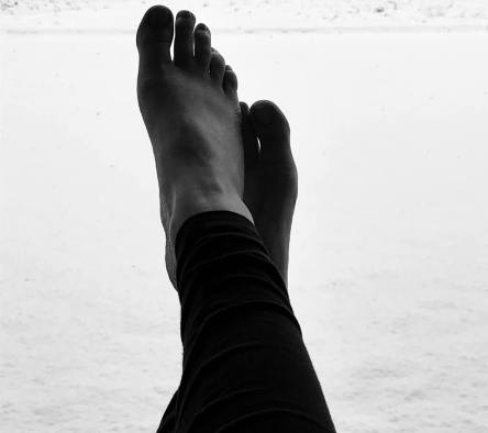 barefoot in snow